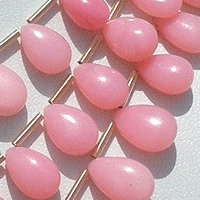 aaa Pink Opal Gemstone  Flat Pear Plain