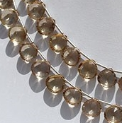 8 inch strand Champagne Citrine  Concave Cut Faceted Heart