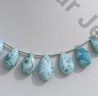 wholesale Larimar Gemstone Flat Pear Plain