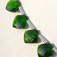 8 inch strand Chrome Diopside Puffed Diamond Cut Cushion Shape