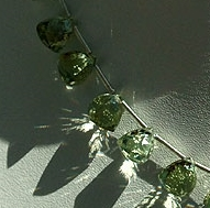 8 inch strand Green Amethyst Gemstone faceted Chestnut