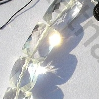 8 inch strand White Topaz Gemstone Faceted Rectangles