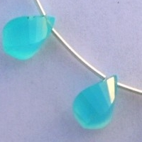 8 inch strand Dyed Blue Chalcedony  Twisted Tear Drops
