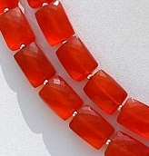 8 inch strand Carnelian Gemstone Faceted Rectangle