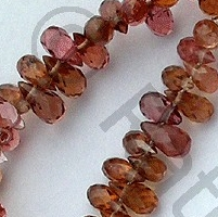 8 inch strand Brown Zircon Gemstone Tear Drops Briolette