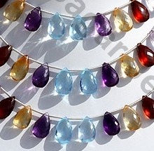 wholesale Semi Precious Gemstone flat pear briolette