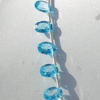 8 inch strand Blue Topaz Gemstone  Oval Faceted