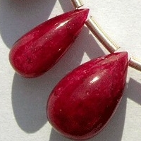 8 inch strand Ruby Gemstone Plain Tear Drops