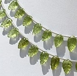 8 inch strand Peridot Gemstone Carved Leaf