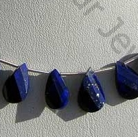 16 inch strand Lapis Gemstone Twisted Flat Pear