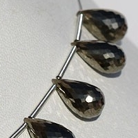aaa Pyrite Beads Tear Drops Briolette
