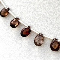 wholesale Brown Zircon Gemstone Flat Pear Briolette