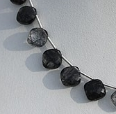 8 inch strand Black Rutilated Quartz Cushion Cut