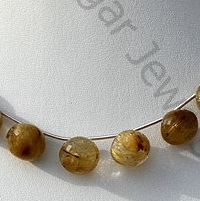 wholesale Golden Rutilated Quartz Onion Shape Beads