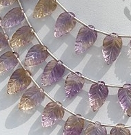 8 inch strand Ametrine Gemstone Carved Leaf