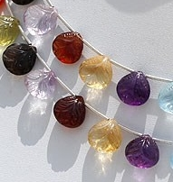 8 inch strand Semi Precious Gemstone Carved Beads