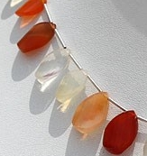 8 inch strand Mexican Fire Opal  Gemstone  Twisted Flat Pear