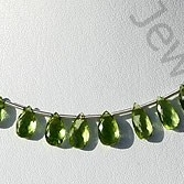 wholesale Peridot Gemstone Beads  Flat Pear Briolette