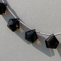 8 inch strand Smoky Quartz Gemstone Polygon Diamond Cut