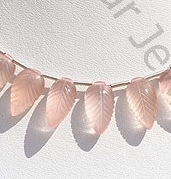 wholesale Rose Quartz Carved Leaf
