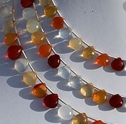 8 inch strand Mexican Fire Opal  Gemstone  Heart Briolette