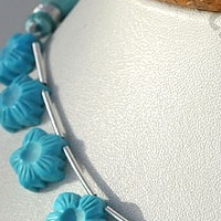8 inch strand Turquoise Gemstone Flower Beads