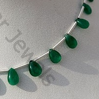 8 inch strand Emerald Gemstone Beads  Flat Pear Plain