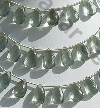 wholesale Green Amethyst Flat Pear Briolette