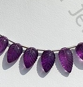 wholesale Amethyst Gemstone Carved Leaf