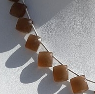 8 inch strand Coffee Moonstone Puffed Diamond Cut