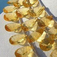 8 inch strand Honey Quartz  Concave Cut Pan