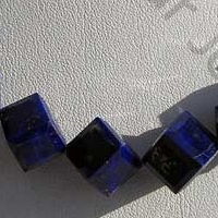 8 inch strand Lapis Gemstone Faceted Cube