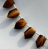 8 inch strand Tiger eye gemstone pentagon shape beads.