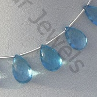 wholesale Blue Topaz Gemstone  Flat Pear Briolette