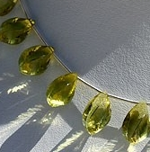 8 inch strand Lemon Quartz Gemstone Twisted Tear Drops