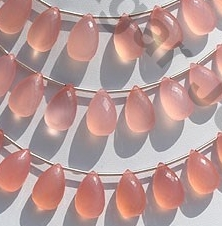 wholesale Pink Chalcedony Flat Pear Briolette