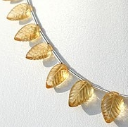 8 inch strand Citrine Gemstone  Carved leaf