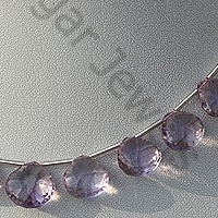 8 inch strand Pink Amethyst  Concave Cut Faceted Heart