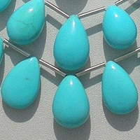 8 inch strand Sleeping Beauty Turquoise Flat Pear Plain