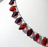 8 inch strand Garnet Gemstone  Twisted Flat Pear