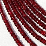 16 inch strand Red Spinal Faceted Rondelle