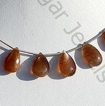 wholesale Golden Moonstone Flat Pear Briolette