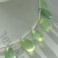 aaa Prehnite Gemstone  Flat Pear Plain