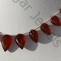 8 inch strand Spessartite Gemstone  Carved Leaf