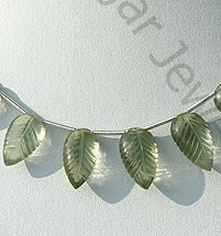 wholesale Green Amethyst Gemstone Carved Leaf