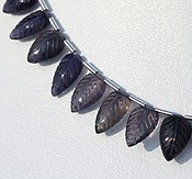 8 inch strand Iolite Gemstone Beads  Carved Leaf
