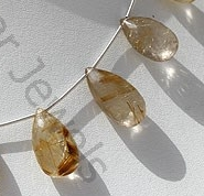aaa Golden Rutilated Quartz  Flat Pear Briolette