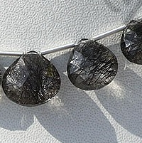 aaa Black Rutilated Quartz  Concave Cut Faceted Heart