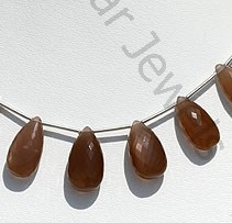 wholesale Coffee Moonstone Flat Pear Briolette