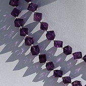 16 inch strand Amethyst Gemstone  Faceted Cube